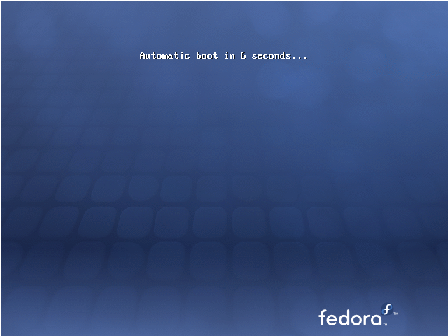 The initial screen on the Fedora 12 Live CD