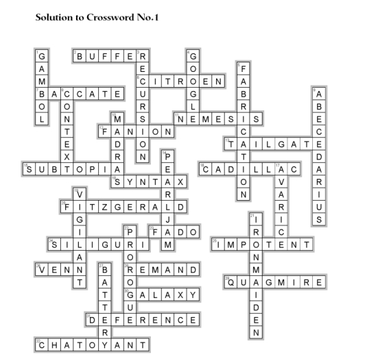 Solution to Crossword No. 1