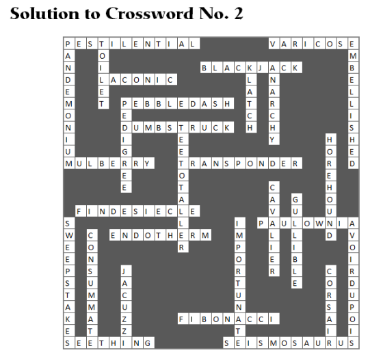 Solution to Crossword No. 2